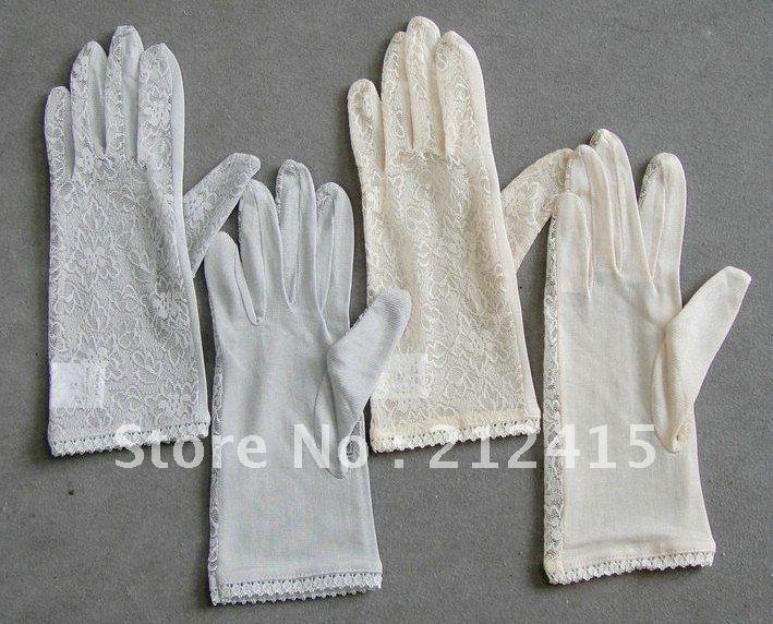 free shipping /lace bridal gloves silky bridal gloves Marriage gauze gloves Silks 1pair /ls1802(China (Mainland))