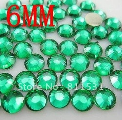 2012 AAA Acrylic Rhinestone Round Flat back 6MM Color Green acrylic stone 10000pcs for DIY Nail Jewelry!!(China (Mainland))