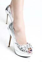 2012 New Women's Party Wedding Silver Rhinestone PU Platform Pumps Stilettos Open Toes High Heels Shoes