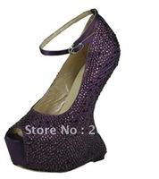 new style hot sale !No heels pumps crystal wedding shoes sexy high heel pumps open toe platform heels 7colors