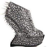 new arrive Spikes rhinestone silver heels heel less wedges sandals women shoes platform