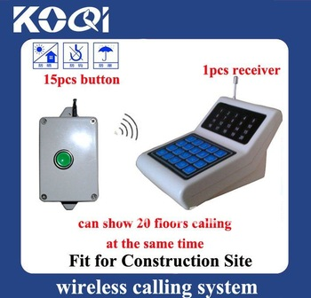Building Site wireless paging system ; 1 receiver+15pcs lift call buttons ; receiver can show 20floors call in one time