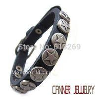sl241/leather bracelet,high quality  punk cowhide star  bracelet,100% Pure handmade jewelry,100% genuine unique leather bracelet