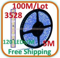 100 M/lot Waterproof 5 M blue LED 3528 SMD Rope Light 120 LED/M