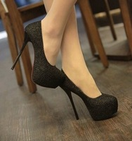 Ladies sex Pump Shoes/Footwear 2012 fashion  Stiletto Pumps Sweet  high platform green  gray black 3 colors