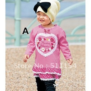 Girls Dress Patterns Free on Girl Long Sleeve Heart Pattern One Piece Dress Free Shipping Retail