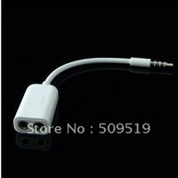 DHL Free shipping 200pcs/lot 3.5mm Audio Splitter cable for iPhone iPod iPad 1 to 2 audio splitter line