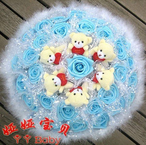 Punk Style Wholesale &Retail Gift Bouquet 30 powder rose 6 to hold the heart of Bear Cartoon bouquet environmental PE Rose(China (Mainland))