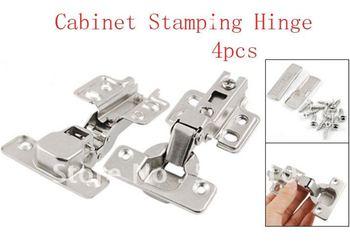 4 Pcs Silver Tone Furniture Closet Cupboard Cabinet Stamping Hinges