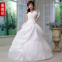 Love feather one shoulder flower bride wedding 2012 sweet princess wedding dress