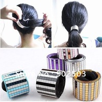 Gorgeous interval color lattice hair band,elastic Hair Accessories with Pop style Shiny Colorful metal Sequins