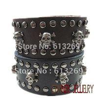 sl316/leather bracelet,high quality  punk  cowhide skul   bracelet,Rock styel,100% Pure handmade jewelry,100% genuine leather