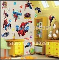 Brand New!UK Hot Spiderman Cartoon Boy Room 50x70cm/sheet Nursery Mural Wall stickers ,5pcs mixed