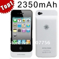 For iPhone 4 4S 4G External Rechargeable Backup Battery 2350mAh Charger Case Cover  free shipping (With retail box)