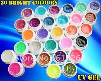 30 PCS Bright Shiny Glitter UV Gel Nail Art Net In 30 Colors Freeshipping