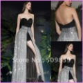 New Style Free Shipping Customized Sweetheart Black and Silver Sequined Fabric Crystal Waist Fashion Evening Party Dresses