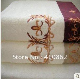 Free shipping 100% cotton towel no twisting yarn bath towel and face towel set