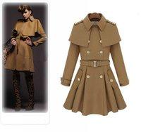 new autumn and winter female double breasted wool woolen cloak overcoat outerwear cape women's coat outerwear