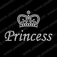 Free Shipping 30pcs/Lot  Custom Design Available Princess with Crown  Iron On Rhinestone Hot Fix Motifs for Garment