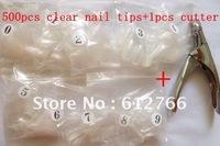 free shipping +500 pcs fales nail tips +1 pcs nail cutter +10pcs nail double sided coating