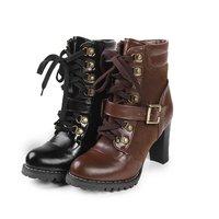 обувь женщины Джеффри Кэмпбелл площади ботинки высокой пятки Мартин, черный плюс размер заклепки ботильоны