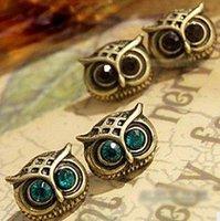 Minimum order $20 (mix order)  Metal Owl Stud Earrings Antique Rhinestone Earring