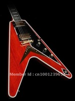 wholesale guitar Musical Instrument Custom Flying fantasy V dark red solid Electric Guitar