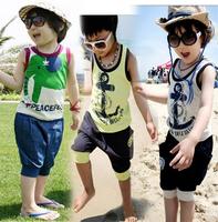 Summer 2012 children's clothing baby child set baby female child boys clothing vest shorts set c-tz24