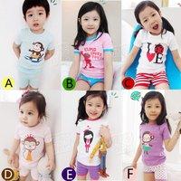 2012 summer candy cartoon boys clothing girls clothing baby short-sleeve derlook set tz-0452