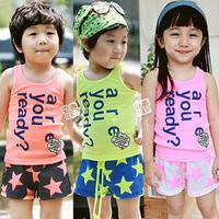 2012 summer colorful boys clothing girls clothing vest shorts set tz-0171