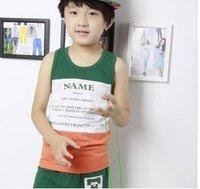 Summer 2012 children's clothing child vest male child set summer 100% cotton child sleeveless T-shirt twinset