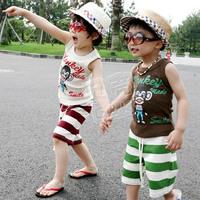 2012 summer monkey boys clothing girls clothing baby vest shorts set tz-0162