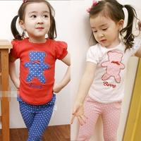 Bear short t-shirt trousers sports set 2012 summer female big boy baby children's clothing 4282