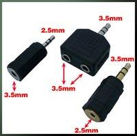 1 to 2 Headphone Splitter 3.5mm to 2.5mm/2.5-3.5 Adapter Y-Splitter