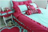 120370  Fedex free shipping! 100%  cotton Lace Floral Aestheticism  bedding 4pcs Princess bed  Rose & Leopard