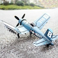 Free shipping TIN model plane Antique Vintage handmade  F4U-4 pirate fighter decorative ornaments