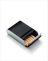 PHILIPPI fashionable elegant Cigarette case Men Smoking leather cigarette case,stainless steel edging cigarette sub-16 installed
