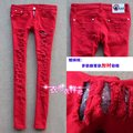 Female candy color jeans front hole tights skinny pants women trousers pencil jeans
