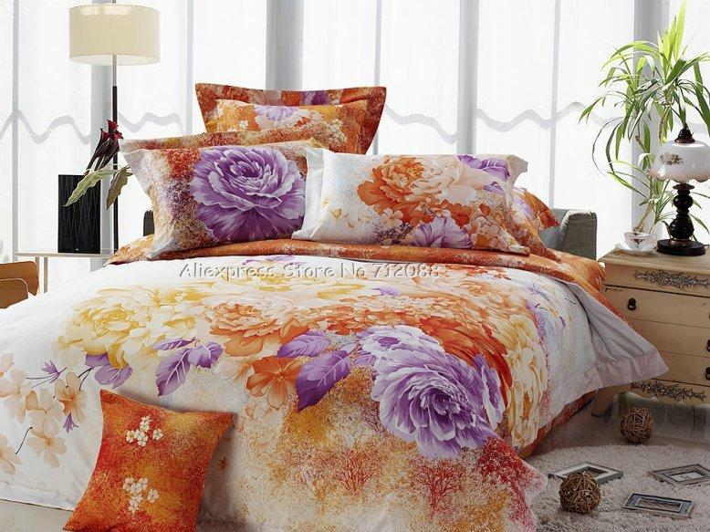 Orange comforter set promotion shop for promotional orange - Orange and purple bedding ...