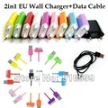 Colorful EU USB wall Charger + colorful sync data Charge Cable for iphone 4 4s 3G 3GS 1set/lot free dropshipping! !