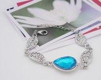 Christmas holiday sale White Gold Plated Leaf Blue Crystal Bracelet  BKB001