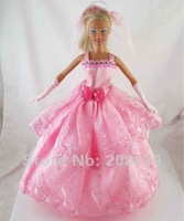Free shipping 3pcs=Handmade Wedding Dress Clothes Gown For Barbie Doll+Glove+Headband w117
