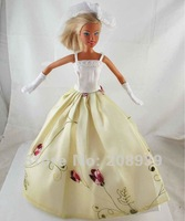 Free shipping 3pcs=Handmade Wedding Dress Clothes Gown For Barbie Doll+Glove+Headband w121