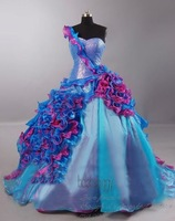 2012 New One-shoulder Prom Dress Purple Ball Gown Quinceanera Dress Custom
