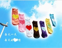 Free Shipping ankle women's weekly socks 7 colors , free size Heart design 7pairs/lot W011