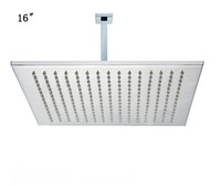 16 inches stainless steel  square rain shower head with arm