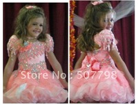 2012 fall new style,Stylish cute rose layered organza ,beaded sequins Girl Cupcake dress,2-6t,Freeshipping flower girl dress