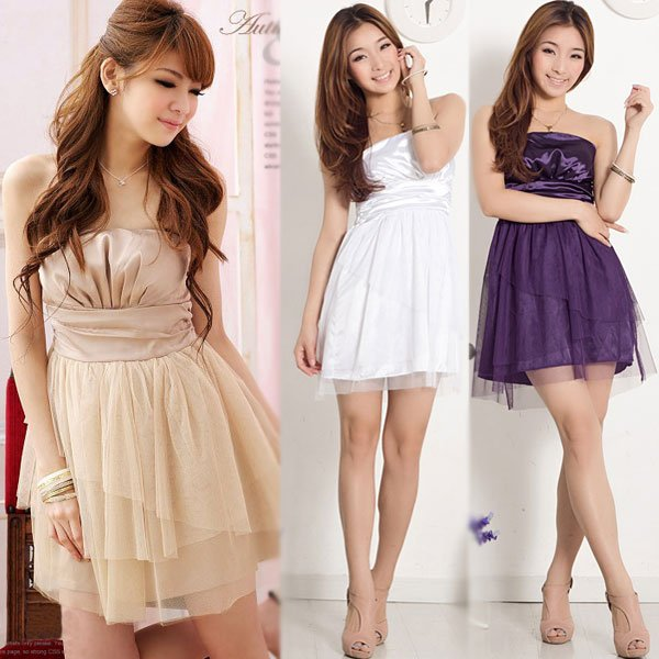2013 New Womens Girl Slim Sexy Strapless Mesh Shool Party Gown Prom Cocktail Mini Dress Free Shipping # L034121(China (Mainland))