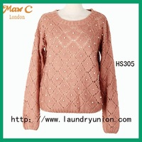 2012 Knitted brown color boat neckline long sleeves pullover sweater HS305#