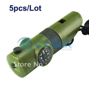 Free Shipping 5pcs/Lot 7 in 1 Survival Whistle Compass Thermometer Flashlight Magnifier